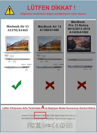 "Mcstorey MacBook Air A1465  A1370 11.6"" Kılıf Kapak Koruyucu Hard Incase Mat Vizon"